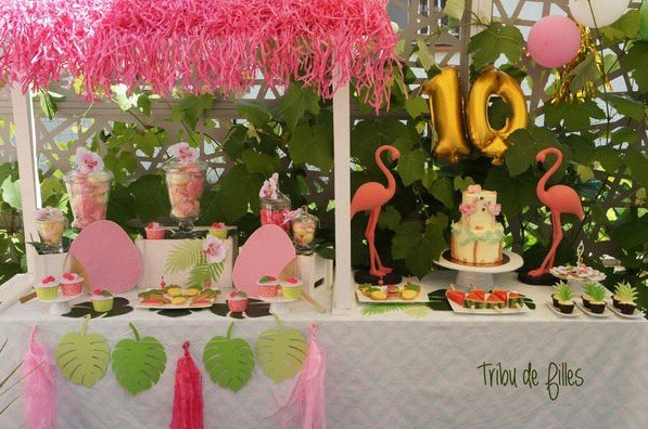 Flamingo party un anniversaire tropical avec des flamants roses anniversaire flamant rose - Deco anniversaire flamant rose ...