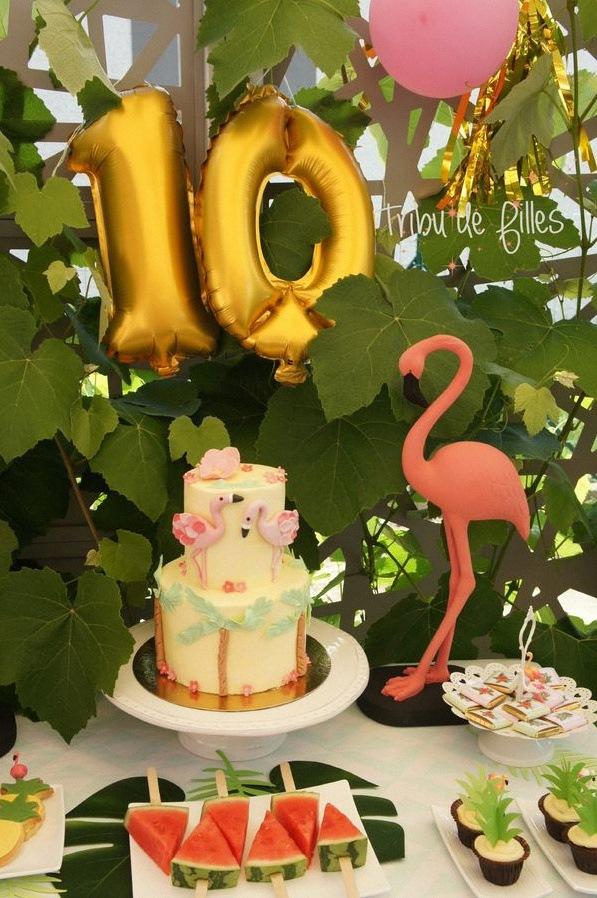 gateau flamant rose décoration flamingo tropical party