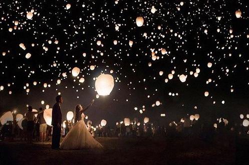 lacher de lanternes volantes mariage